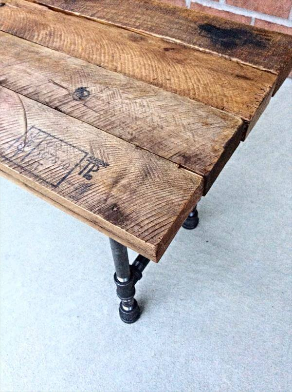 Diy Reclaimed Pallet And Iron Pipe Bench 101 Pallets