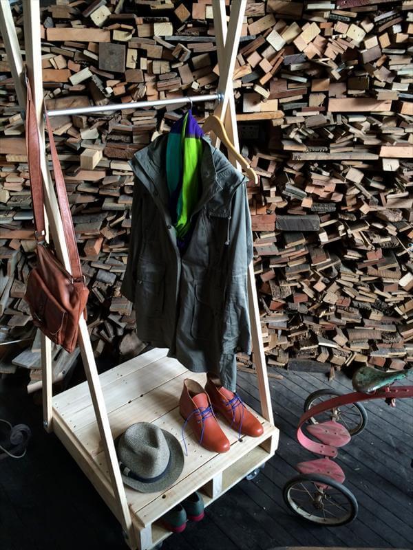 repurposed pallet coat rack and shoes rack