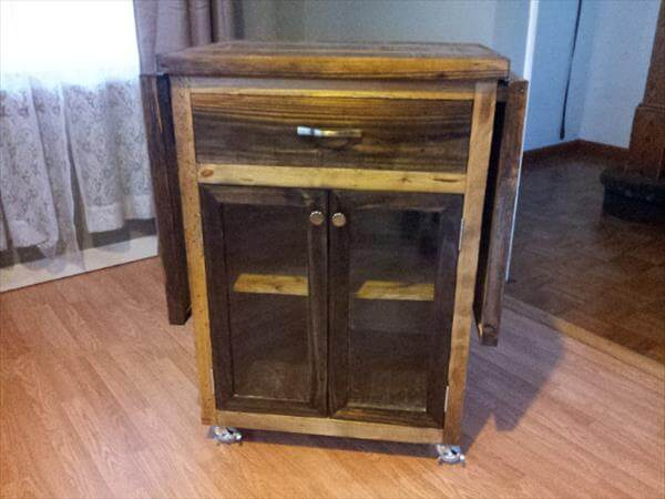 reclaimed pallet kitchen cart with drop leaves and wheels