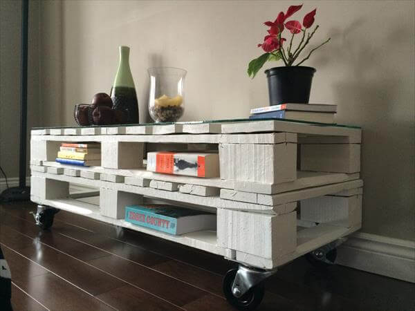 White Pallet Coffee Table white wooden coffee table with wheels | 101 pallets