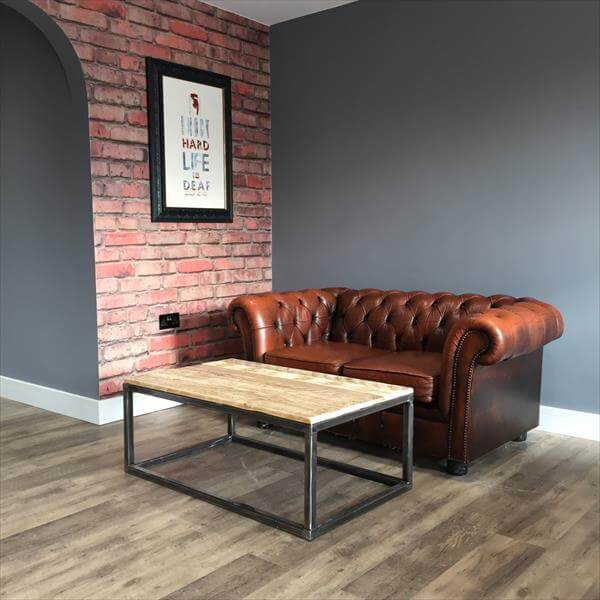 Industrial design pallet coffee table 101 pallets - Table basse palette industrielle vintage ...