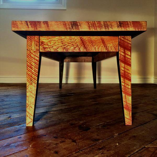 reclaimed pallet diamond patterned top coffee table