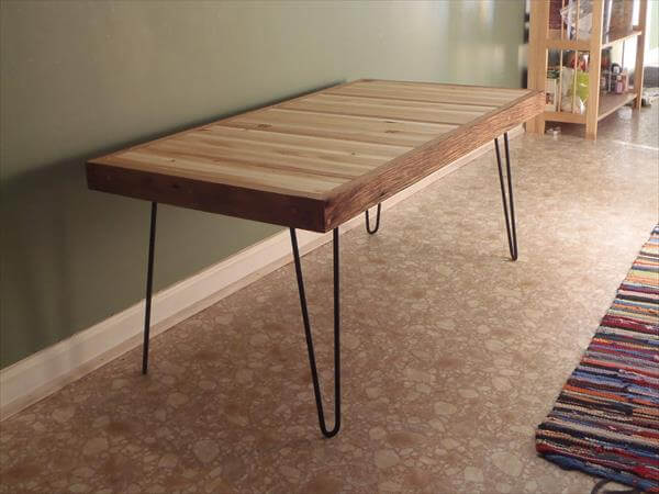 Good Recycled Pallet Coffee Table With Metal Legs
