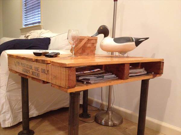 upcycled pallet and iron pipe side table
