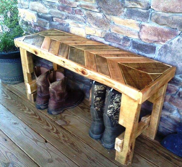 recycled pallet chevron bench
