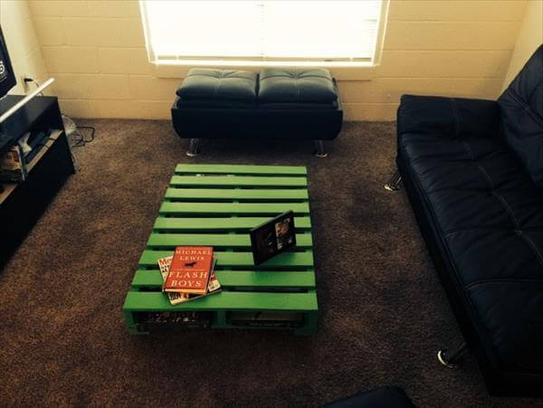 diy green colored pallet coffee table with wheels | 101 pallets