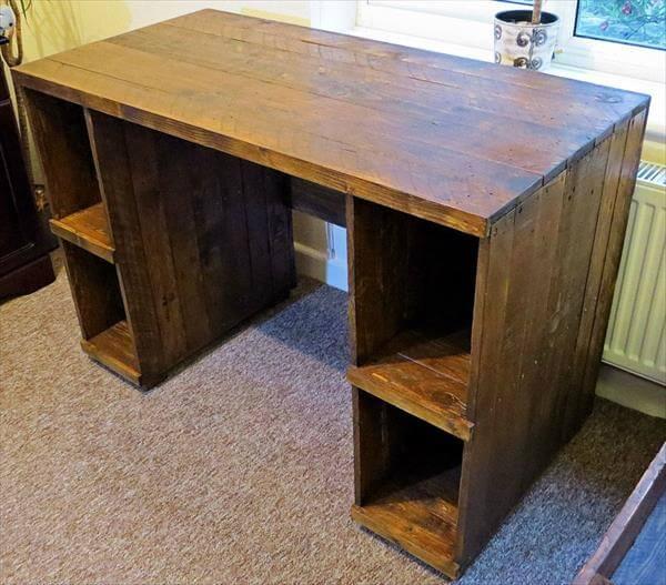 DIY Pallet Computer Desk With Storage 101 Pallets
