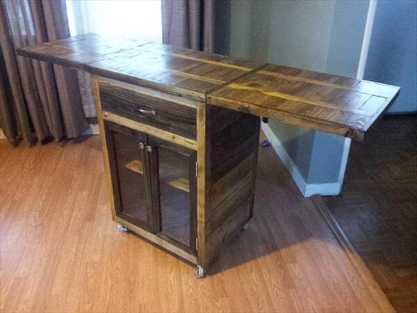 recycled pallet kitchen cart with drop leaves