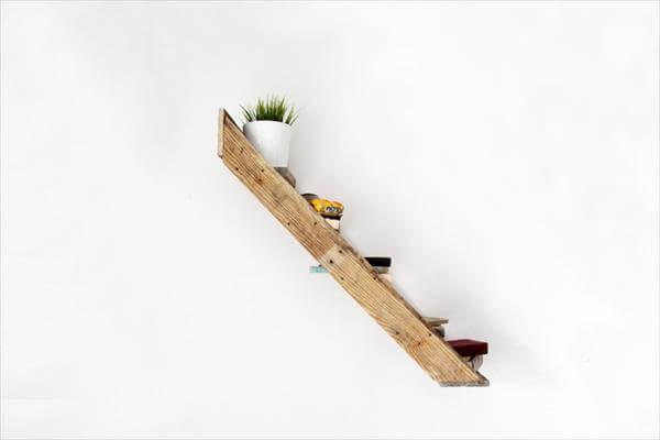 repurposed pallet stair shelf