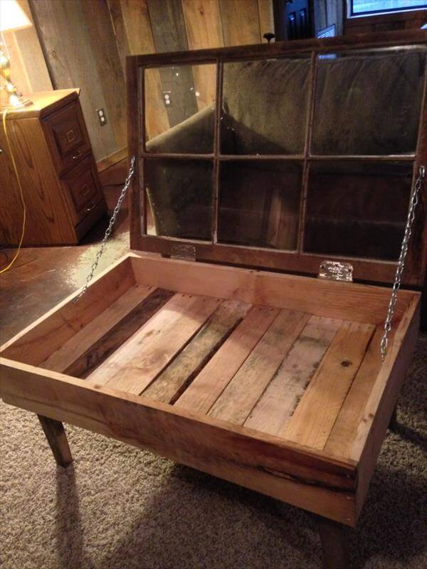 repurposed pallet old window coffee table - Recycled Pallet And Old Window Coffee Table 101 Pallets