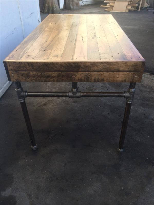 Wood Pallet Desk With Iron Pipe Base 101 Pallets