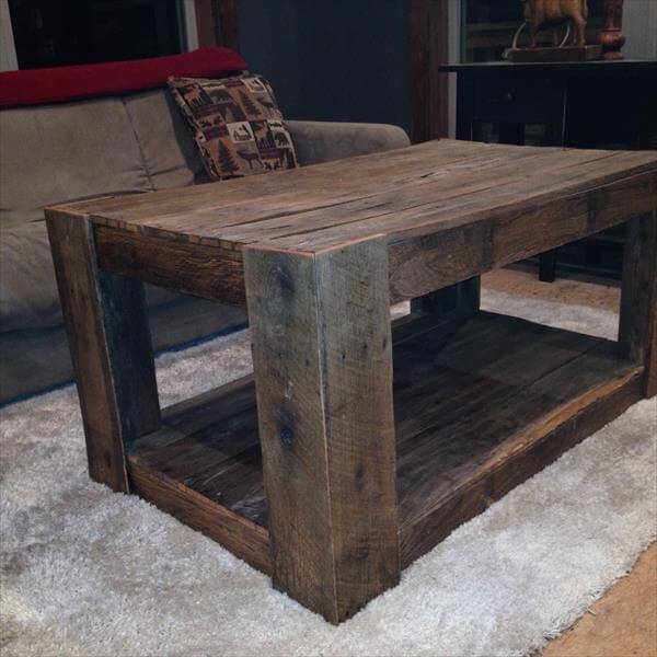Build Coffee Table From Pallets: DIY Highly Rustic Pallet Coffee Table