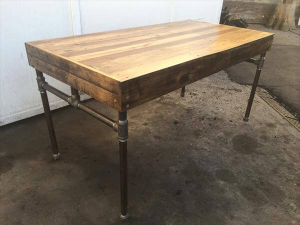 diy industrial pallet pipe desk diy pallet coffee table with pipe ...