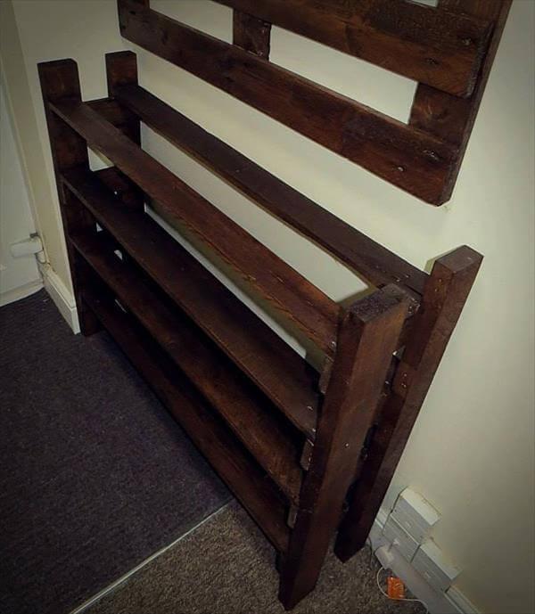 Hallway Pallet Coat Rack and Shoe Rack