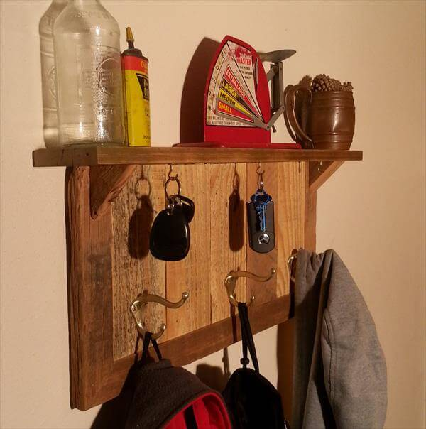 recycled pallet coat rack and key organizer