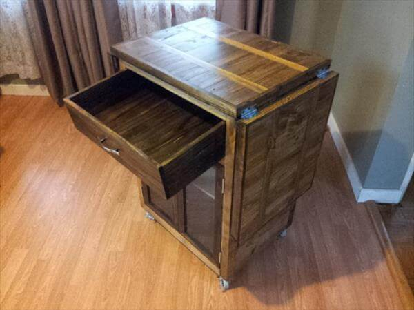diy pallet kitchen cart with drop leaves and storage drawer
