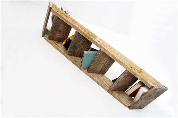 Rustic Pallet Wall Stair Shelf
