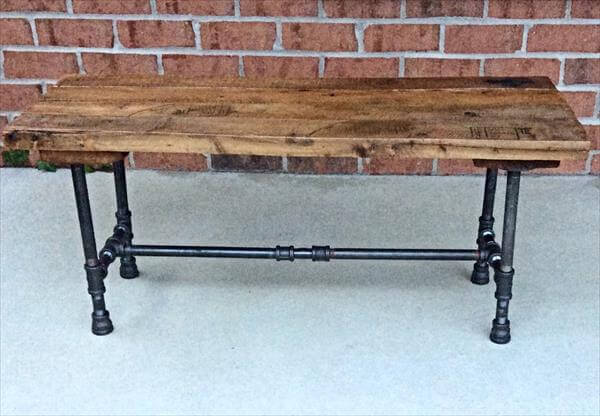 diy pallet iron pipe. Repurposed Pallet And Black Iron Pipe Bench Diy