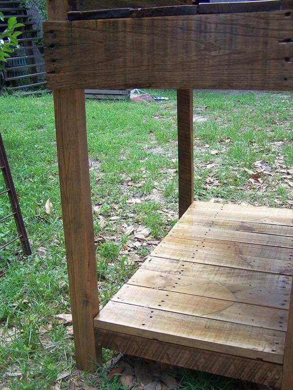 retrieved pallet handmade potting table