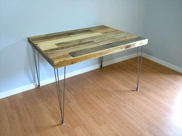 reclaimed pallet and metal dining table