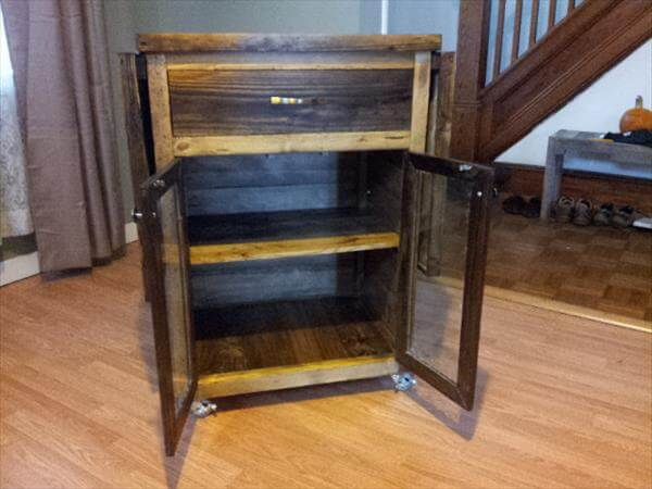 repurposed pallet kitchen cart with drop leaves