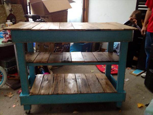 recycled pallet triple tiered pallet kitchen island