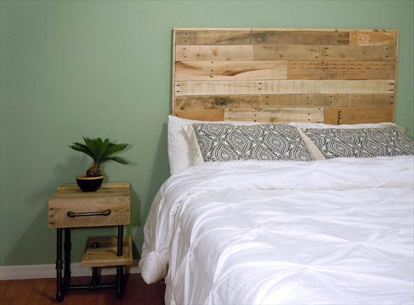 reclaimed pallet and iron pipe nightstand
