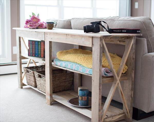 Diy shabby chic pallet buffet and sofa table 101 pallets for Sofa table made from pallets