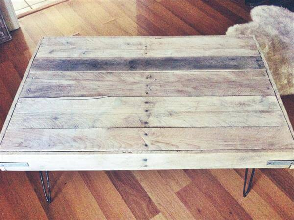 recycled pallet coffee table with metal legs. DIY Pallet Reclaimed Wood Coffee Table   101 Pallets
