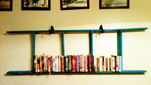 repurposed pallet hanging ladder wall bookshelf