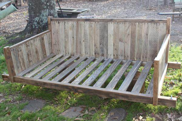 reclaimed pallet large swing bed