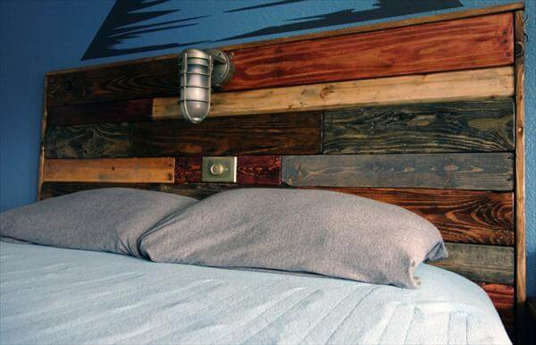 Related Posts Diy Pallet Headboard With Lights Reclaimed