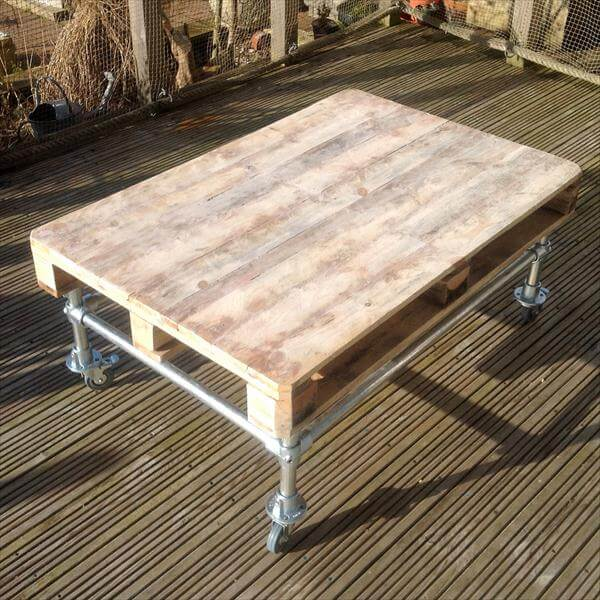 Diy Outdoor Pallet Coffee Table With Metal Base 101 Pallets