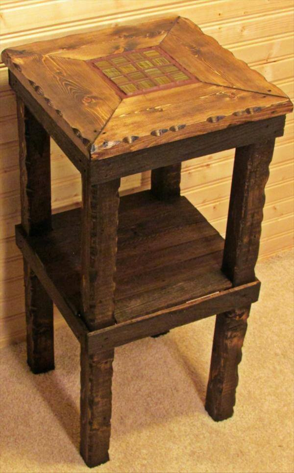 pallet side table end table and bedside table diy pallet side table ...