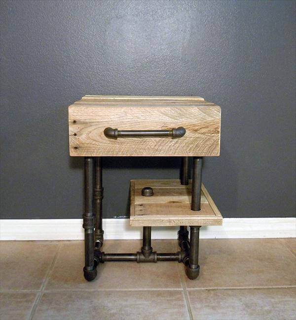 diy pallet and iron pipe side table and nightstand