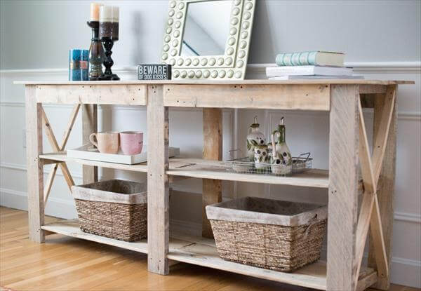 DIY Shabby Chic Pallet Buffet And Sofa Table 101 Pallets