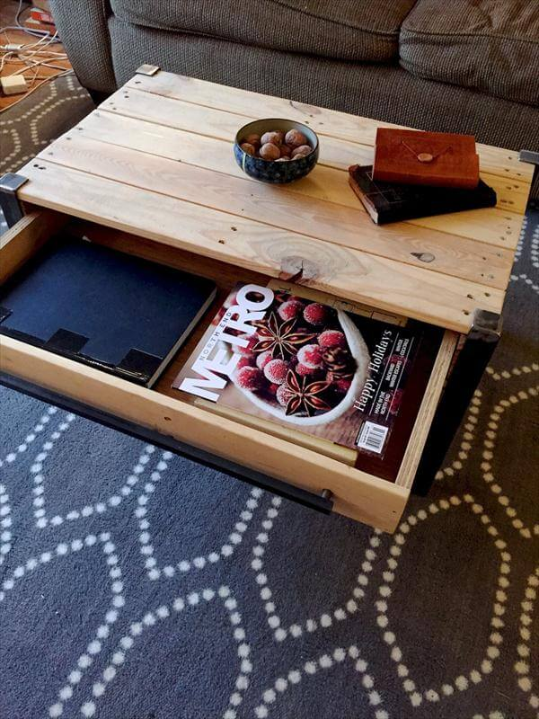 upcycled pallet metal coffee table