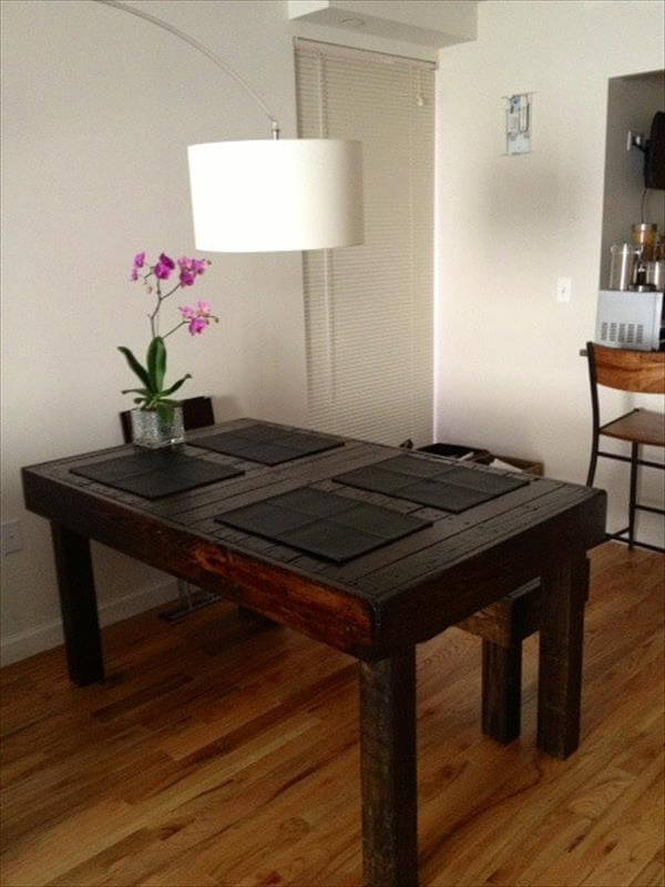 Diy Pallet Built To Last Dining Table 101 Pallets