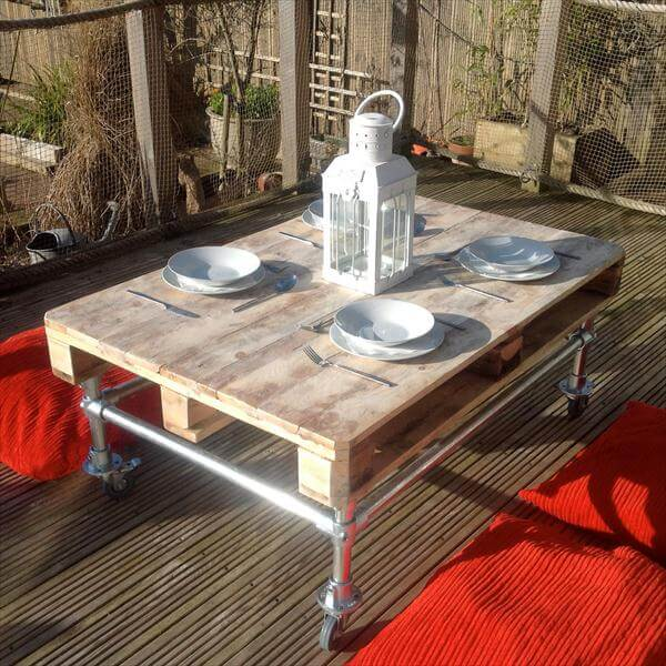 diy pallet side table with metal pipe base diy pallet coffee table ...