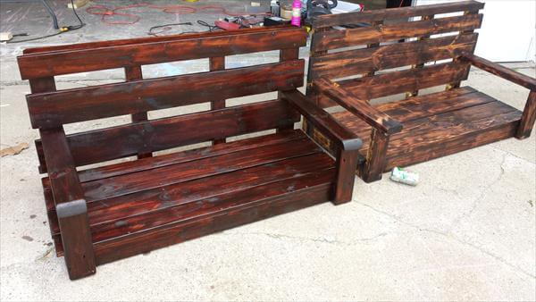 upcycled scorched pallet porch swing