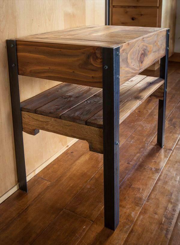 Diy rustic pallet end table 101 pallets for Diy rustic end tables