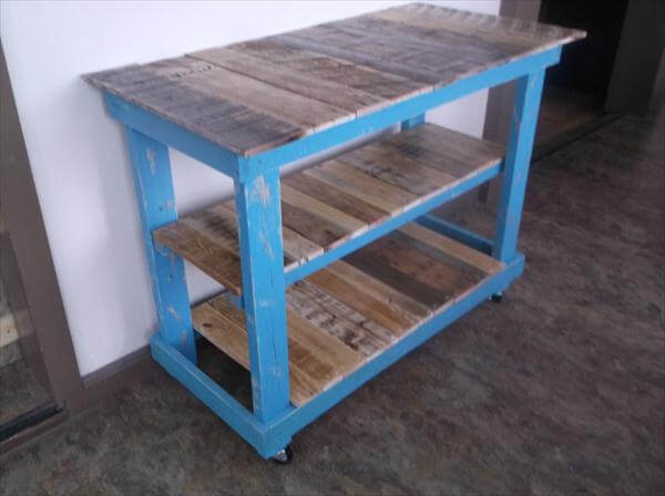 handmade pallet triple tiered pallet kitchen island table