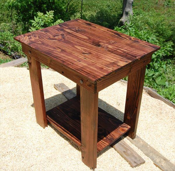 DIY Pallet Side Table – End Table and Bedside Table | 101 Pallets