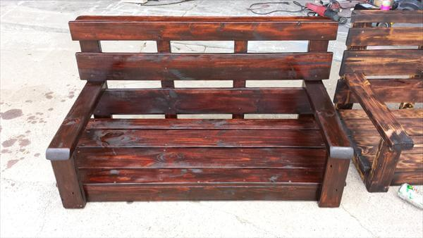 repurposed pallet stained and scorched porch swing