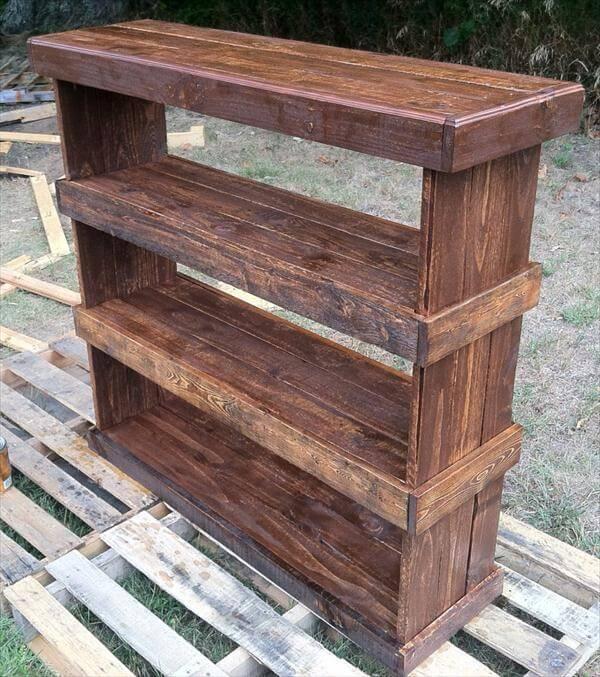 ... pallet wood bookcase or storage unit diy wood pallet shoe rack diy