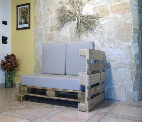 recycled pallet two seated sofa with cushion