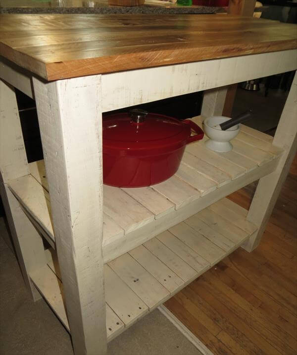 Kitchen Island Out Of Pallets: DIY Pallet Made Kitchen Island Table