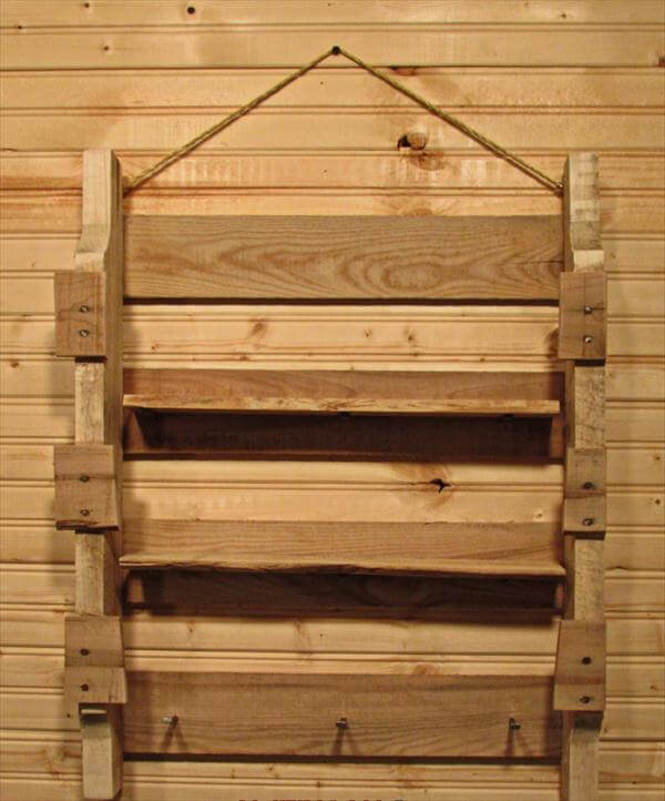 recycled pallet wall hanging shelf and coat rack