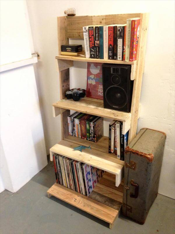 recycled pallet ladder shelving