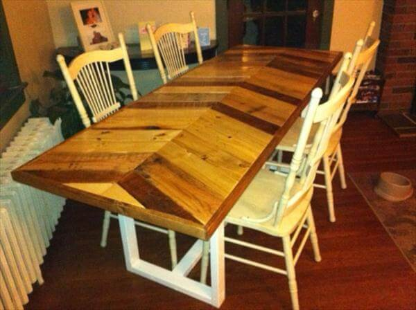 DIY Pallet Chevron Farmhouse Dining Table | 101 Pallets